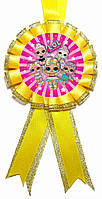 """Медаль детская """"L.O.L"""". Диаметр с бантом: 85мм."""