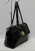 Женская сумка T19555-A13 прессованная кожа черная с синим отливом , фото 1