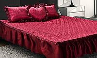 Покрывало атласное на кровать с подушками