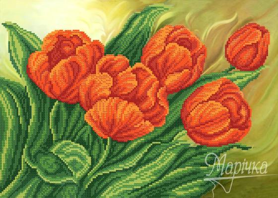 РКП-646 Схема для вишивки бісером Червоні тюльпани.