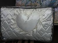 Атласное покрывало Евро размера с подушками - молочного цвета