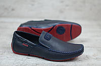 Мужские кожаные туфли мокасины на красной подошве, фото 1