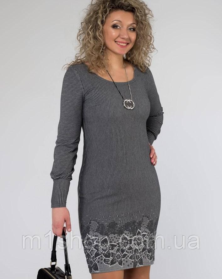 Женское платье серого цвета больших размеров (1264-1263 svt)