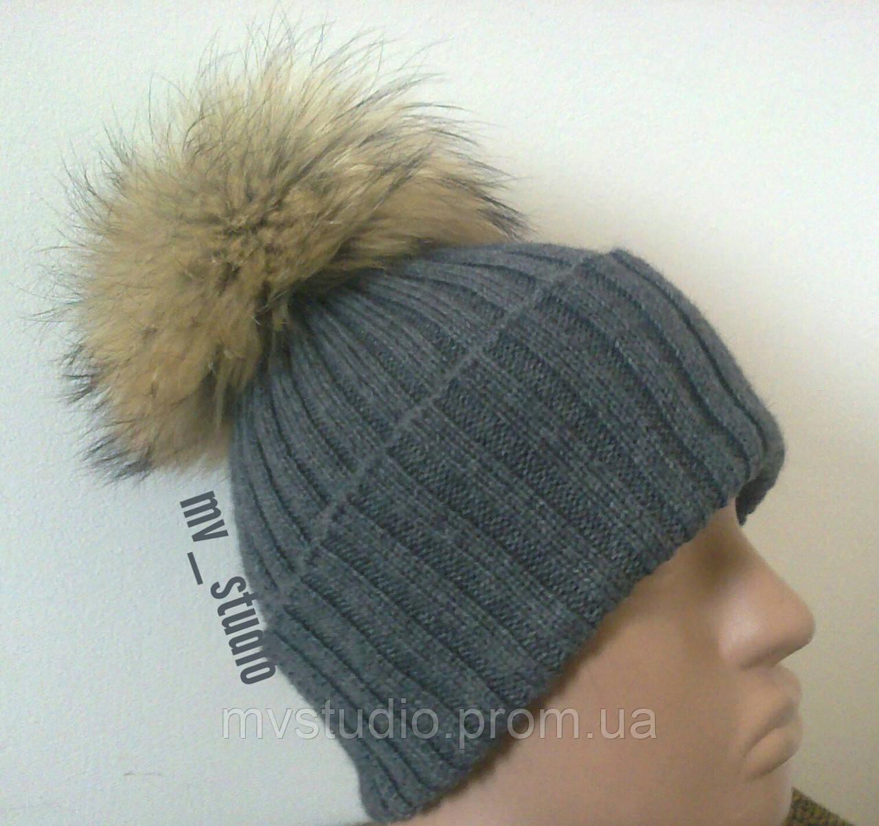 Мериносовая шапка с помпоном, сезон весна-осень