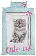 Комплект детского постельного белья мятное с принтом котик (100% хлопок) 140х200 см.