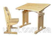 Комплект парта зі зростаючим стільцем з сосни