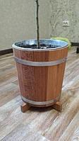 Горшок из дерева 7л дуб с металлической вставкой (Кадка для цветов)