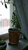 Садовая кадка для цветов дубовая 12л с металлической вставкой (горшок для цветов)