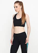 Женский топ для фитнеса и спорта (чёрный, голубой)