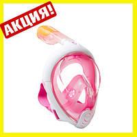 Инновационная маска для снорклинга подводного плавания Easybreath розовая, фото 1