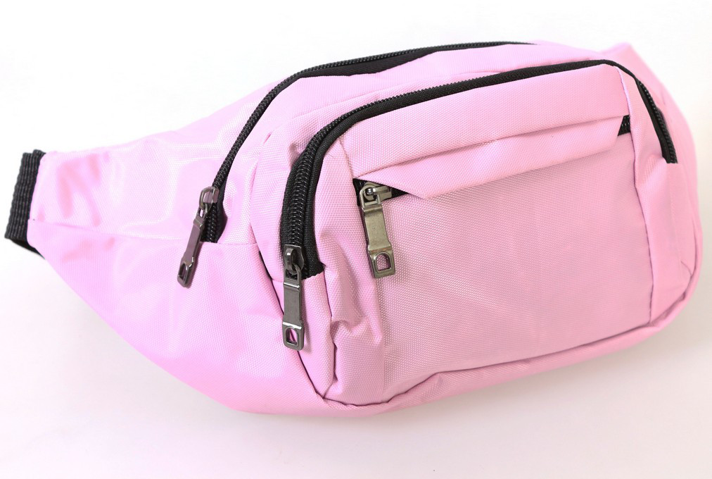 Женская сумка бананка на пояс бледно-розовая Summers Q003-3