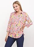 Рубашка женская удлиненная с цветочным принтом (коралл), фото 6