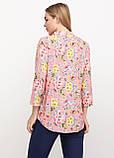 Рубашка женская удлиненная с цветочным принтом (коралл), фото 7