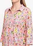 Рубашка женская удлиненная с цветочным принтом (коралл), фото 8