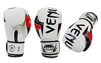 Перчатки боксерские кожаные на липучке VENUM ELITE BO-5238-WBK (р-р 10-12oz, белый-черный)