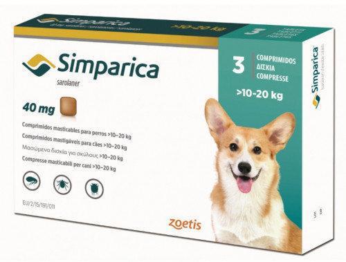 Симпарика 10-20 кг от блох и клещей для собак (3шт)