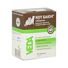 Таблетки Кот Баюн Веда (Veda) - Успокоительное для кошек и собак, 50 таблеток