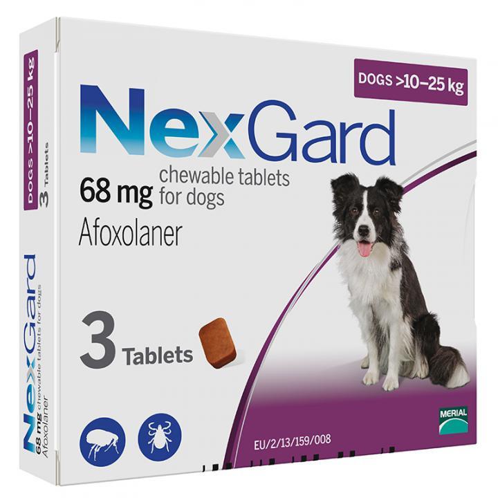 Нексгард для Собак 10-25 кг от Блох и Клещей - 3 таб/уп