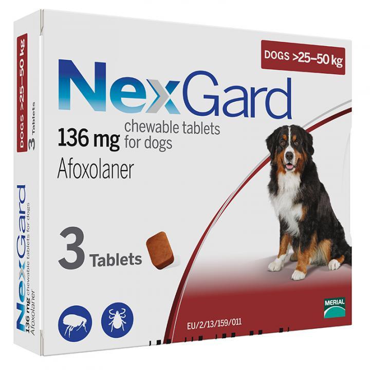 Merial NexGard 25-50кг (Нексгард) - Жевательная Таблетка для защиты Собак от Клещей и Блох 3 таб/уп