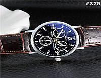 Мужские кварцевые наручные часы   годинник Geneva c ремешком коричневого  цвета (375) 8e1732731487f