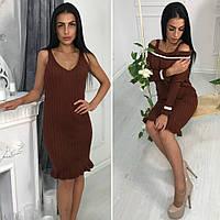 Вязаный комплект-двойка (платье+кофточка)