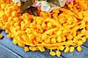 Тесьма с помпонами, 15 мм, ярко-желтотого цвета оптом