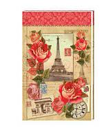 """Тетрадь В6 (125*200мм), твердый переплет, 80 листов, клетка.  Дизайн """"Paris"""""""