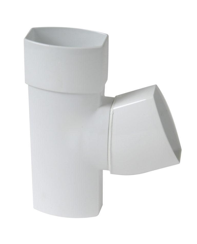 Тройник для прямоугольной трубы D90-56 Nicoll, цвет белый