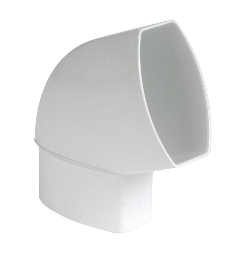 Отвод 67 град. в плоскости стены Nicoll, прямоугольный D90-56, цвет белый
