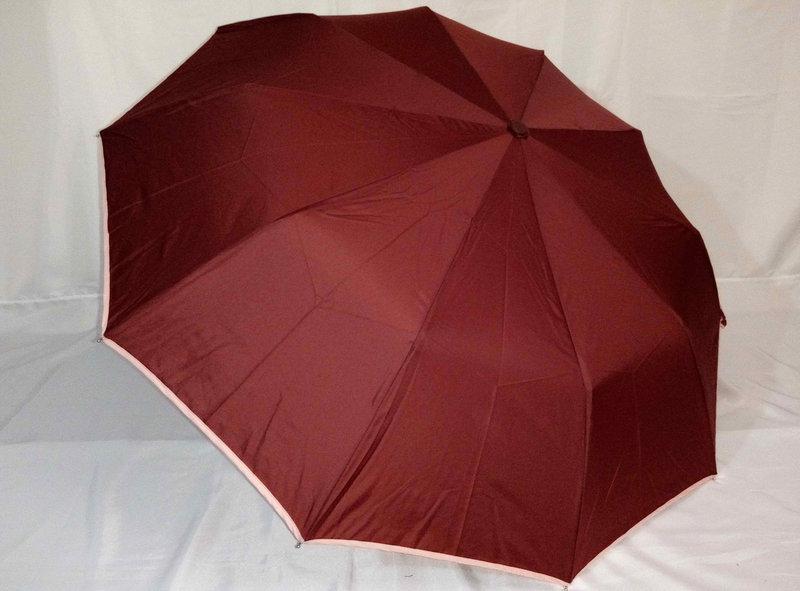 Женский зонт полуавтомат вишневый с каймой на 9 спиц