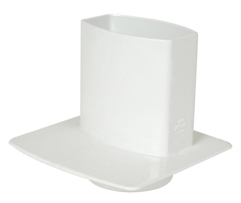 Канализационный переходник с прямоугольной трубы, цвет белый