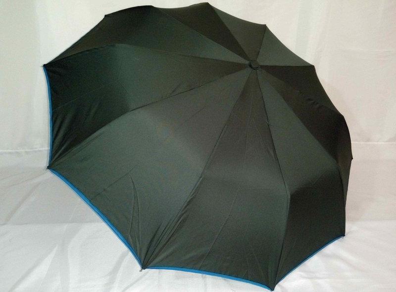 Женский зонт полуавтомат с каймой на 9 спиц  цвет темно-серый