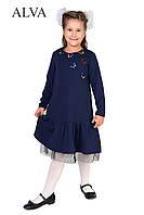 Модное трикотажное платье для девочки синего цвета