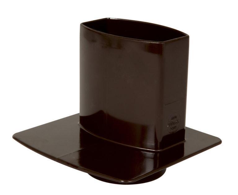 Канализационный переходник с прямоугольной трубы, цвет коричневый