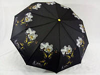 Женский зонт на 9 спиц с орхидеями антиветер цвет черный
