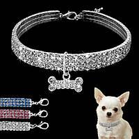 """Колье, ожерелье """"Кристальная косточка"""" для собаки, кошки. Украшение для собаки."""