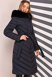 Длинное зимнее пальто с мехом мутона  Фелиция 2 Нью Вери (Nui Very)