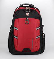 Рюкзак городской SwissGear 7651 черно-красный, выход для USB, наушников, дождевик, фото 1