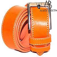 Ремень мужской брючный кожаный гладкий отделочная строчка ( Вознесенск ) 35 мм - купить оптом в Одессе