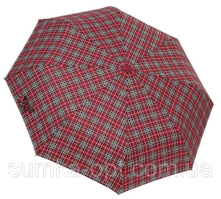 Мужской зонт автомат (бордо-клетка)