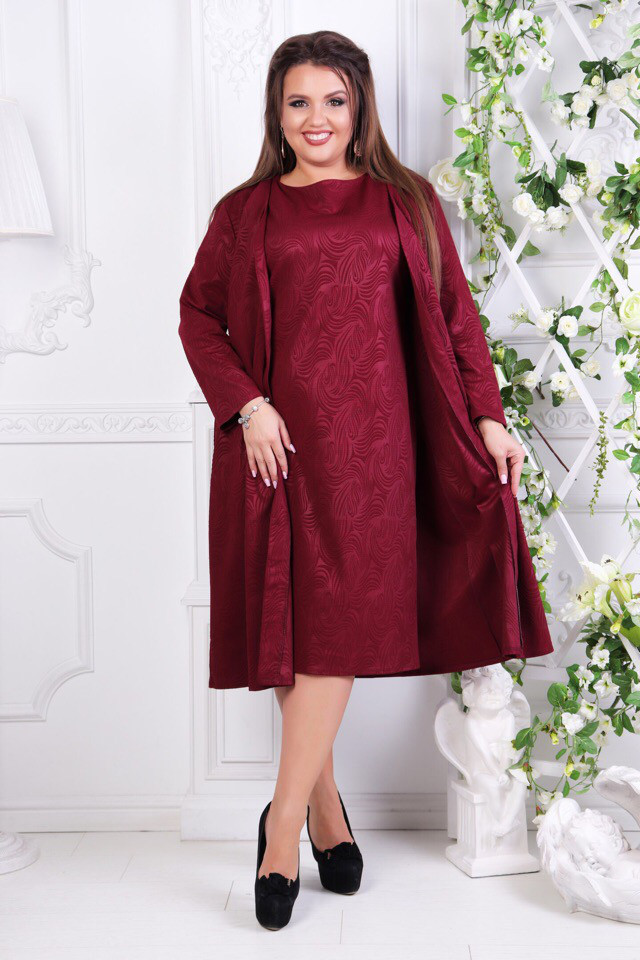 45ec3e0c34b088b Купить Платье батала с кардиганом двойку марсалу оптом и в розницу ...