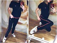 Модный летний женский спортивный костюм футболка и брюки с лампасами черный