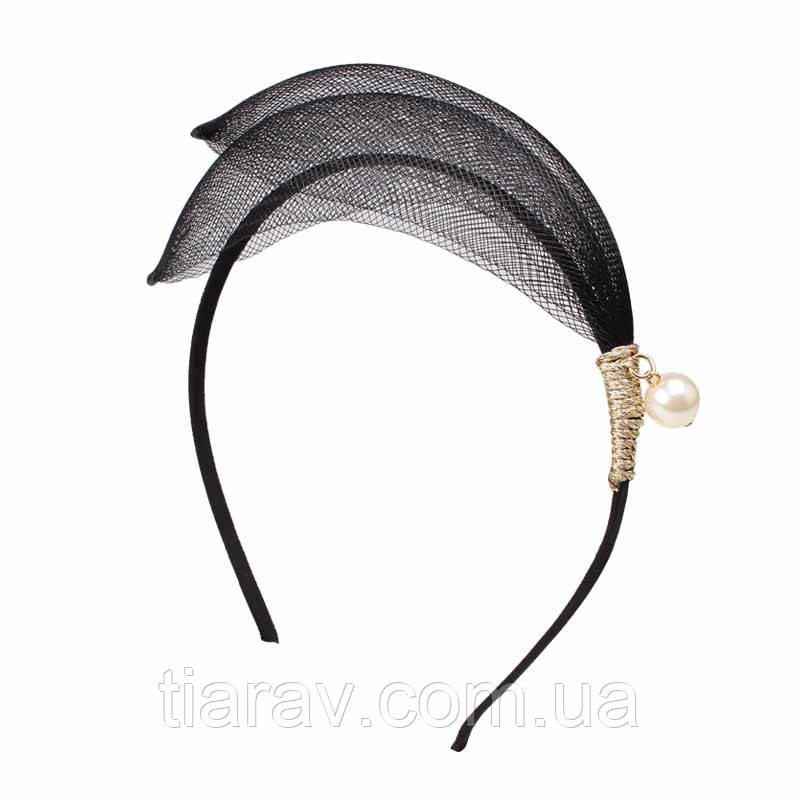 Обруч для волос черный модный ПЕРО