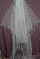 Шикарная свадебная фата айвори длинная венчальная из еврофатина