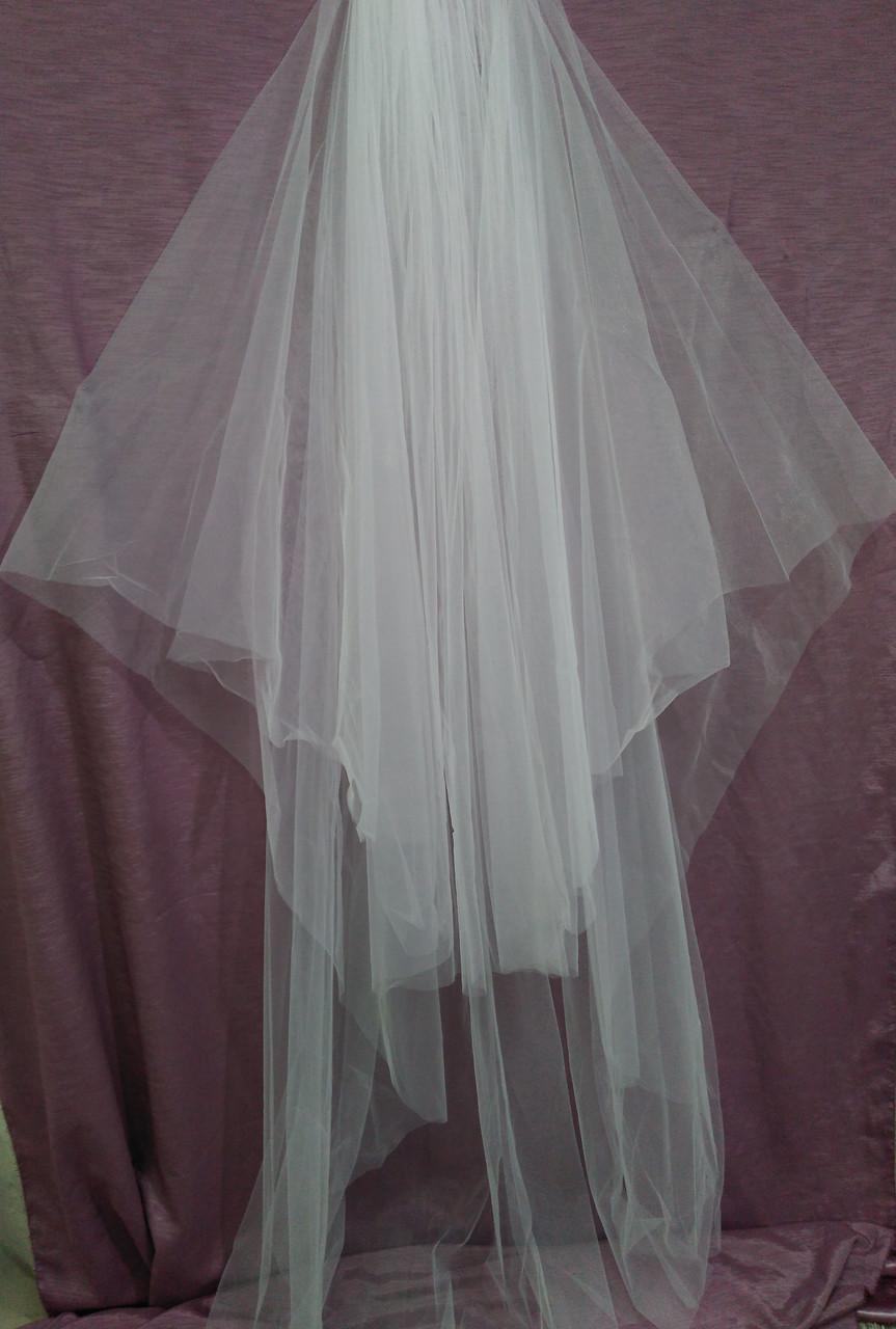 Шикарна весільна фата довга біла вінчальна з єврофатина