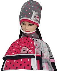 Набор на девочку 101100 шапка и хомут принт кошка (деми)