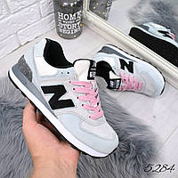Кроссовки женские New Balance голубой + розовый 5284, спортивная обувь, фото 1