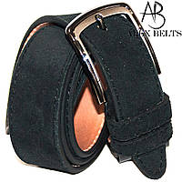 Ремень мужской брючный кожаный замшевый отделочная строчка 35 мм - купить оптом в Одессе