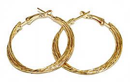 Буланые серьги-кольца с рифлением. Цвет: позолота. Диаметр: 4 см. Ширина: 4 мм.