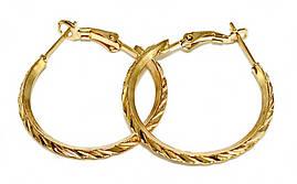 Булатные серьги-кольца с рифлением. Цвет: позолота. Диаметр: 3 см. Ширина: 3 мм.